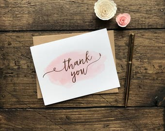 Gold Foil Thank you Cards. Set of 12. Blush and Gold Stationery Cards. Wedding Thank You Cards. Blank Custom Wedding Cards.