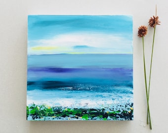 Abstract seascape, ocean painting, small art, Acrylic painting, art gift, atmospheric art
