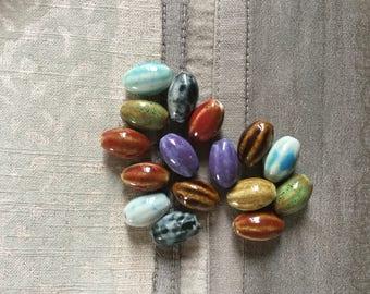 6 Pcs. Beautiful Porcelain Oval  Beads 18mm