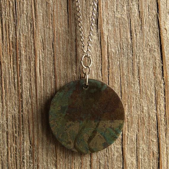 LARGE round vintage abstract print stoneware pendant