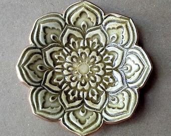 Olive Green Ceramic Lotus Ring Dish  3 1/4 inches round