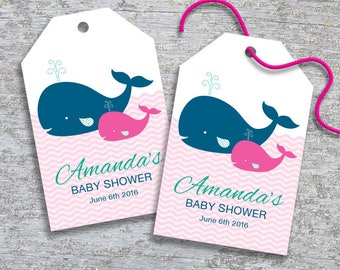 Personalized Whale Baby Shower Favor Tags - DIY Printable - Baby Girl (Digital File)