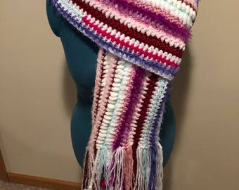 Freeform Sequin, Sparkles, and Chenille Crochet Scarf-White, Pink, Red, Purple, and Teal-Faux Fur Puffs-One of A Kind