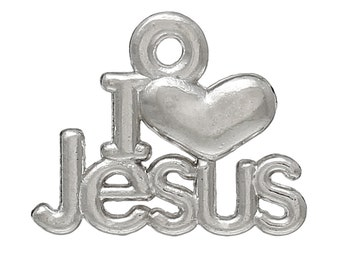 Pack of 10 or 50 I Love Jesus Charms (1812)