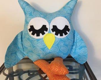 Blue Paisley Handmade Stuffed Owl