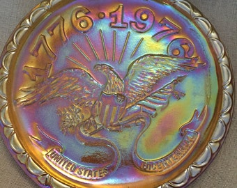 Bicentennial Amber Carnival Glass Plate by Indiana Glass Co.