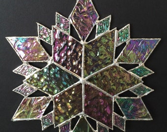 stained glass snowflake suncatcher  (design 36B)