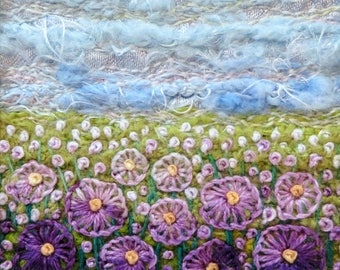 Hand embroidered purple flowers fabric art card - handmade 4.75 inch square floral meadow card - miniature embroidered field of flowers