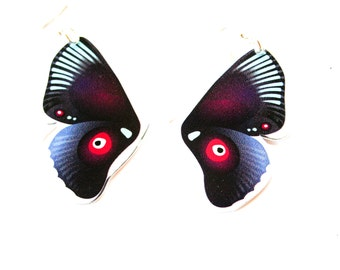 PANIKA Purple flying wings statement earrings / laser cut perspex earrings