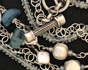 Silver, Aquamarine and pearl necklace