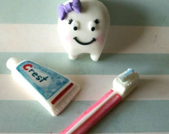 Baby's First Tooth Fondant Cake Toppers