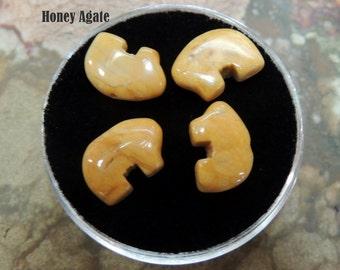 Honey Agate Tiny Zuni Bear Beads you get Four in a Gem Jar