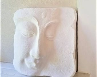Buddha wall hanging sculpture, Buddha tile, Zen, peaceful Buddha face, matte white home accent
