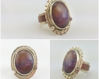 Silver And Copper Forged Red Agate Ring size 9 1/4