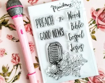 Preach The Word Mini Stamps Christian Scrapbooking Stamping Bible Journaling Good News Gospel Jesus Microphone Growing Meadows Tai Bender