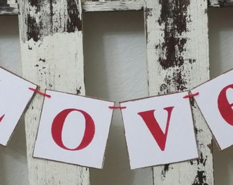 Wedding Banner Valentine Love Garland Banner Shabby Chic Wedding Anniversary Banner Romantic Red Pink Hearts Garland Custom Colors Banner