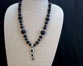 Handmade PMC Silver Pendant with Onyx
