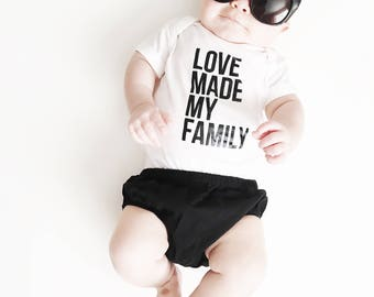 Love Made My Family Black and White Shirt - Adoption Shirt - Adoption Gifts - Gotcha Day Shirt - Adoption Day - Love Makes a Family