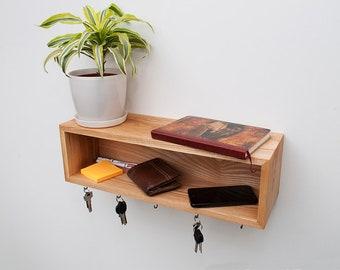 Entryway Organizer, Floating Shelf, Entryway Shelf, Shelf With Hooks, Entryway Hooks, Key Holder Hooks, Key Holder Shelf, Gift for ALL