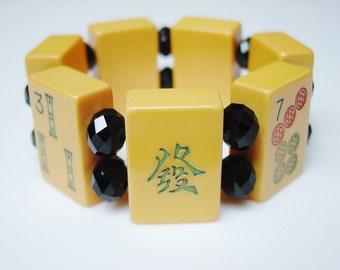 Mah Jong Bracelet / Vintage / Bakelite / 1930 / 1930s / Genuine Bakelite / Butterscotch / Butterscotch Bakelite / Black Crystals / MED LG