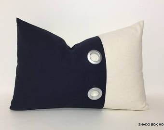 navy Grommet pillow cover. 12x18 Colorblock pillow. Grommet pleat accent on navy brushed canvas. dark blue home decor lumbar pillow cover