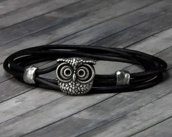 Owl Leather Bracelet – Leather Wrap Bracelet - Leather Bracelet - Mens Leather Bracelet - Womens Leather Bracelet – Owl Jewelry - Owl