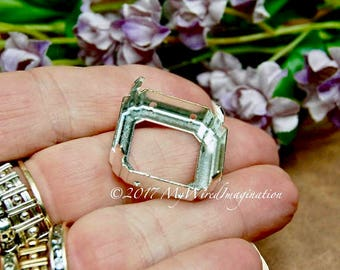 23mm Cabochon or Crystal Setting Art 4675, Silver or Gold Plated Prong Settings, Empty Settings, Nickel Free, Large Square Octagon Setting