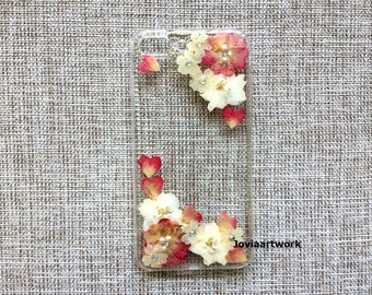 Genuine pressed dried flower Samsung / iphone case - crystal clear hard case