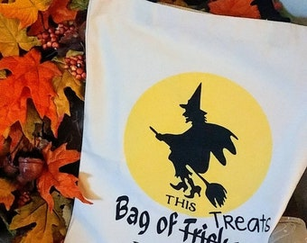 Personalized trick or treat bag - Halloween tote bag - Halloween candy bag -