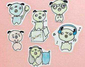 Kawaii pug stickers, pug planner sticker set, dog planner stickers, puppy animal stickers, dog stickers, pastel pug stickers, pug stickers