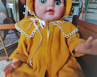 Vintage Handcrafted Gold Corduroy A-Line Doll Coat and Bonnet