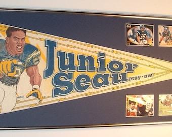 San Diego Chargers Junior Seau Pennant & Cards....Custom Framed