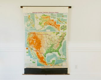 United States Map School Pull down