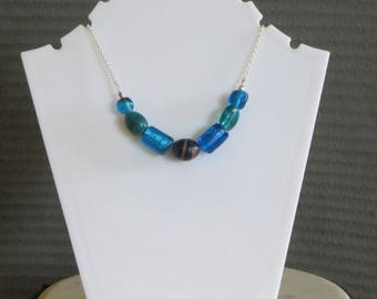 Blue glass bead and chain necklace