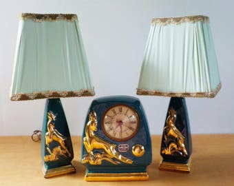 Vintage Howell China Clock and Lamp • 1940s Teal and Gold Lamp and Clock Set •  3 Piece Clock and Lamp Set