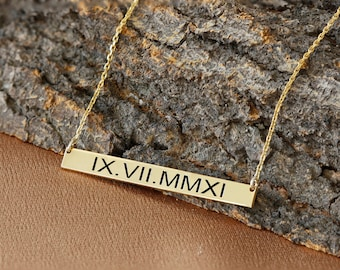 Personalized Roman Numeral Date Bar Necklace, Custom Necklace, Letter Necklace, Silver Necklace, Gold, Rose, Gift