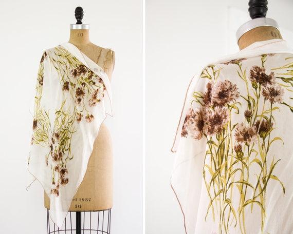 vintage 1950s scarf | floral silk scarf | vintage daisy scarf