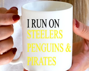Pittsurgh Steelers - Pittsburgh Penguins - Pittsburgh Pirates - Pittsburgh sports - gift for pittsburgh sports fan - pittsburgh coffee mug
