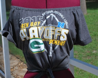Green Bay Packers Upcycled Off Shoulder Cropped with tie Waist, One Shoulder Size M-L