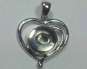 HEART NECKLACE PENDANT for Snap Jewelry....fits 12mm snaps