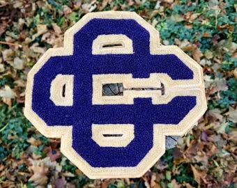 """8"""" Vintage Varsity Letter CC Blue/White"""
