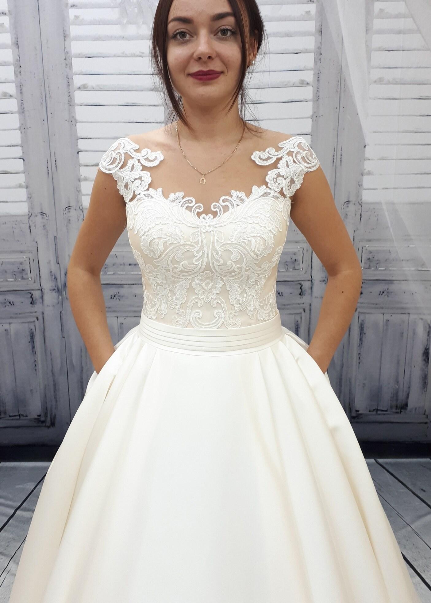 Brautkleid Spitze Brautkleid einzigartige Hochzeitskleid