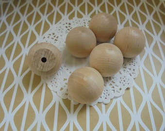 Qty 8 Unfinished Wooden Ball Knobs 1-1/4 inches 3.2 cm Diameter DIY Craft Supplies Doll Heads Drawer Pull Knobs Handles Unfinished