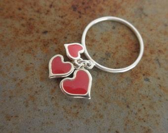 Enamel hearts dangle  ring - sterling heart ring - red enamel heart - enamel heart dangles - valentine - 925 solid sterling silver -