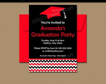 High School Graduation Party Invitation, Graduation Card, Senior Graduation 2018, PRINTABLE Black Red College Graduation Invitation G3