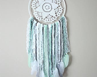 Mint Grey White Dream Catcher-Mint Dream Catcher-Mint Nursery Decor-Dreamcatcher Wall Hanging-Shabby Chic Dreamcatcher-Baby Shower Gift