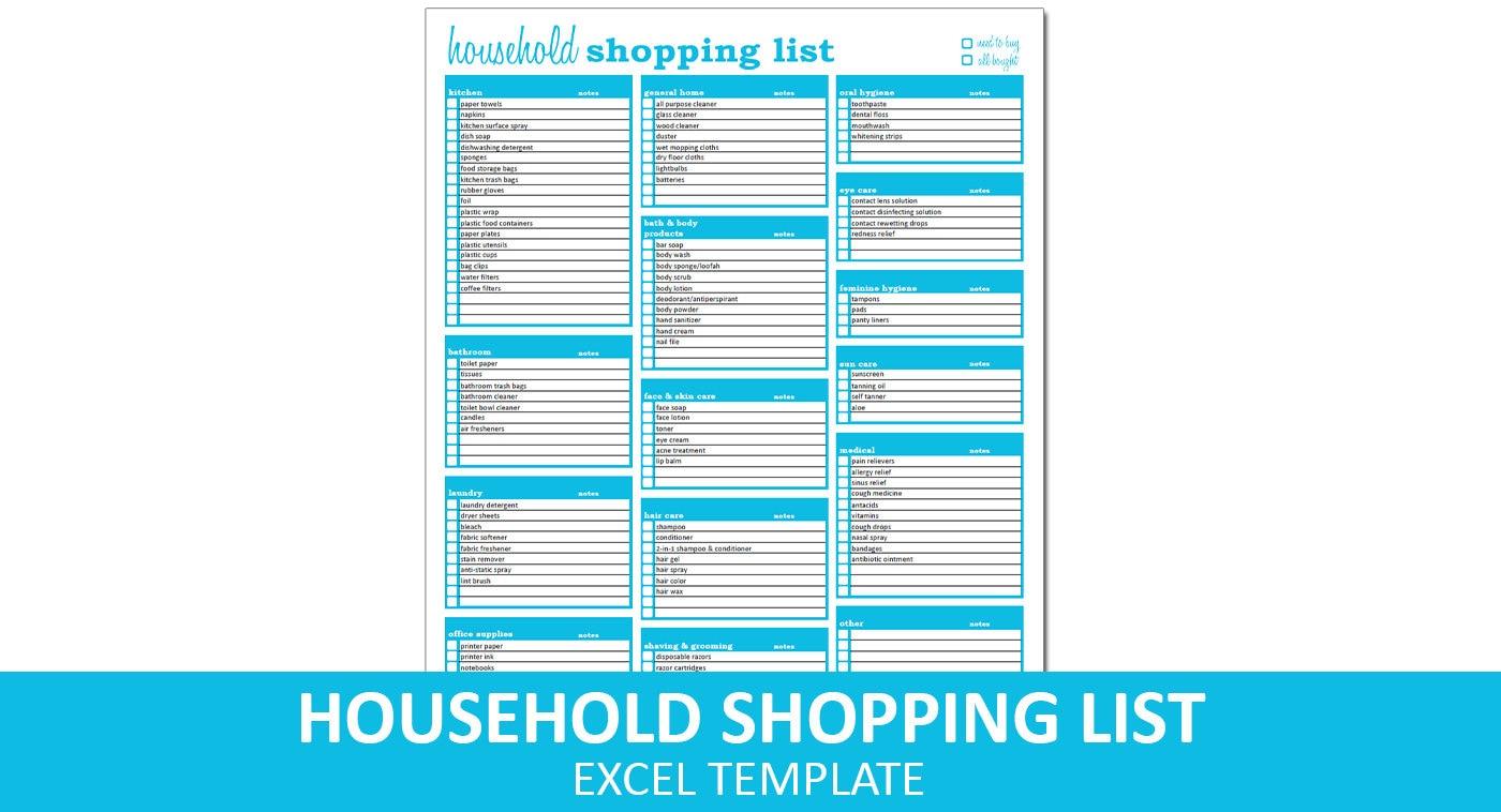 Haushalt die Einkaufsliste Liste Excel Vorlage druckbare