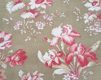 Antique French fabric, printed cotton, embroidered look, patchwork, sewing projects, floral, cushions, pillows.
