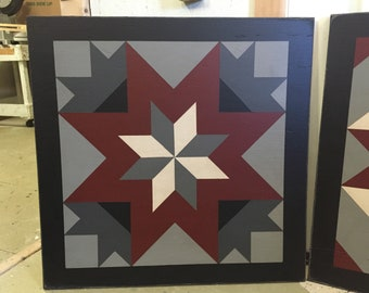 PriMiTiVe Hand-Painted Barn Quilt, Small Frame 2' x 2' - My Mother's Star Pattern (Gray Version)