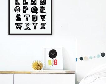Monochrome Alphabet Art, Black and White ABC Wall Art, Minimalist Nursery Alphabet Print, Monochrome Nursery Decor, Unisex Baby Shower Gift